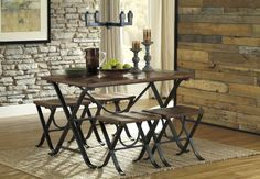 The sleek and chic Signature Design by Ashley Freimore 5 Piece Rectangular Dining Table Set includes a rectangular table and four backless stools. Kitchen Dining Sets, 5 Piece Dining Set, Dining Room Sets, Dining Room Table, Dining Chairs, Rustic Kitchen, Small Dining, Rustic Farmhouse, Vintage Kitchen