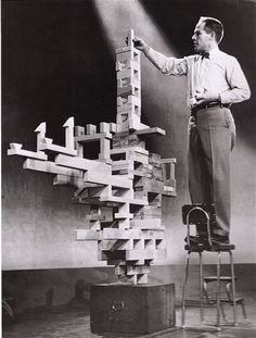 Eliot Noyes, mid century architect, engineer and industrial designer.  He is demonstrating the structural principles of the cantilever on CBS program in 1952.