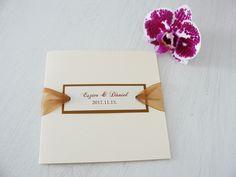 Elegáns esküvői meghívó arany díszítéssel - elegant gold wedding invitation Place Cards, Place Card Holders