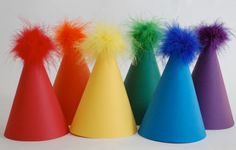 Fab party hats for a rainbow party!