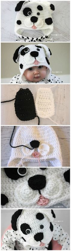 "DIY Crochet Dalmatian Dog Baby Hat – Free Pattern [ ""awwww…Nicki could of … - Knitting Crochet Crochet Kids Hats, Crochet Beanie, Diy Crochet, Crochet Crafts, Crochet Projects, Knitted Hats, Diy Crafts, Crochet Animal Hats, Funny Crochet"