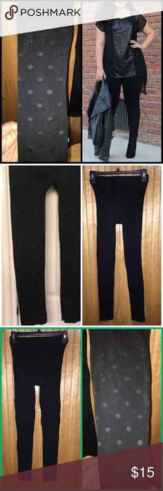 Lane Bryant Black Polka Dot Leggings Sz 14 Chic and stylish, these seamless Lane Bryant leggings are a thick stretch knit material with black Polka dots. The dots have a sheen to them and provide a textured look. Worn once and are too small now; no rips or tears and in excellent condition. Fit very well and very stretchy. They are Sz A/B on the chart above and fit size 14 and maybe 16 with a smaller midriff. I wear size 18 and they fit on the legs but were a bit tight on the tummy. Have been…