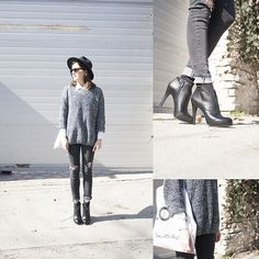 Sheinside Sweater, Jessica Simpson Ankle Boots, Miss Selfridge Canvas Bag, Sheinside Jeans, Choies Hat