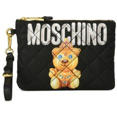Moschino Clutches ($138) ❤ liked on Polyvore featuring bags, handbags, clutches, black, quilted handbags, quilted purses, zip purse, moschino purse and zipper purse