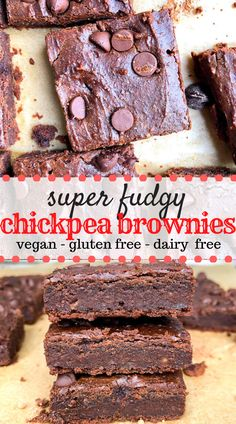Chickpea Brownies are a healthy alternative to regular brownies and are fudgy made with simple natural ingredients and are easy to make They are made gluten free dairy fr. Vegan Dessert Recipes, Gluten Free Desserts, Gourmet Recipes, Baking Recipes, Free Recipes, Vegetarian Recipes, Dinner Recipes, Sugar Free Desserts, Vegan Treats