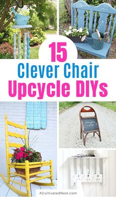 15 Clever DIYs that Repurpose Old Chairs- If you have an old chair, don't throw it out! Instead, make it into something new and beautiful! Check out these gorgeous DIYs that repurpose old chairs for inspiration! | what to do with old chairs, #repurpose #upcycle #DIY #diyProject #ACultivatedNest Diy Outdoor Furniture, Repurposed Furniture, Furniture Redo, Old Chairs, Diy Chair, Outdoor Settings, Clever Diy, Crafts To Make, Diys