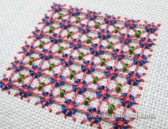 Tutorial for Griffin Stitch - It's a fun lattice filling, suitable for all kinds of embroidery threads!