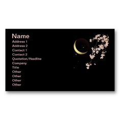 8278 Cherry blossoms night sliver moon vector Business Cards