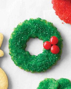 Christmas Cookie Recipes: Sugared Wreath Cookies
