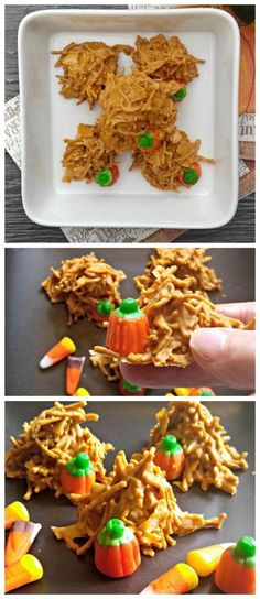 These pumpkin haystack cookies are made with chow mien noodles and butterscotch. I love the addition of the candy pumpkins. Holiday Treats, Holiday Recipes, Thanksgiving Treats, Fall Treats, Christmas Treats, Halloween Treats, Halloween Diy, Fun Desserts, Dessert Recipes