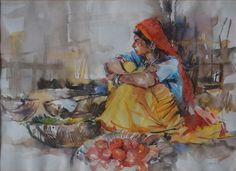 Woman Water color on paper by Ather Jamal Pakistani Artist. Size: 22 x 30 Pakistan Art, Artist Painting, Artist Art, Girly Drawings, Indian Art Paintings, Indian Artist, Acrylic Art, Asian Art, Art Sketches