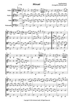 The famous string quartet Minuet by Luigi Boccherini. Arranged for 2 Violins, Viola and Cello. Full score plus all individual instrumental parts included in this great price.