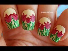MATTE NAILS #3 - TULIP Nail Art Using Acrylic Paint - YouTube