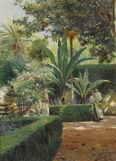 Manuel García Rodríguez (Spanish, 1863-1925), A Garden in Seville, 1913. Oil on canvas, 41 x 30 cm.