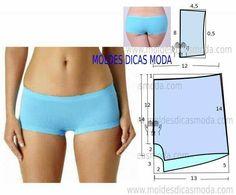 Tomado de moldesdicamoda.com Patrón de panty estilo bóxer femenino