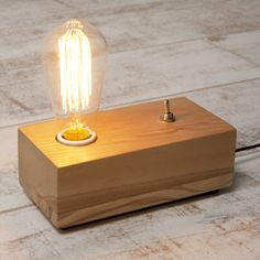 Vintage Style Wood Block Edison Table Lamp | Cult UK