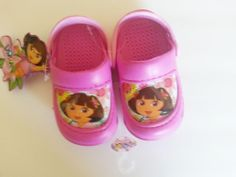 Nickelodeon Jr Dora The Explorer Fuschia Crocs/Clogs Baby Toddler Size 5/6