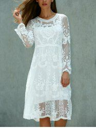 Long Sleeve Crochet Knee Length Lace Dress