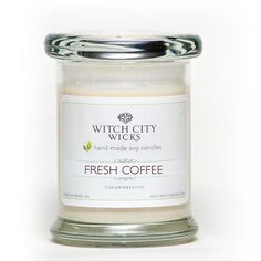 Fresh Coffee scented soy wax jar candle by WitchCityWicks: Perfect for any coffee lover. Dark, roasted coffee-bean with a touch of chocolate.