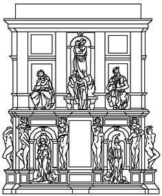 3° progetto di Michelangelo per la Tomba di Papa Giulio II del 1516