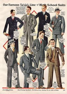 1920s teenager young men boys clothing suits