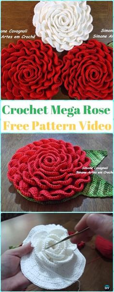 Crochet Mega Rose Flower Free Pattern Video -Crochet Rose Flower Free Patterns Crochet Rose Flowers Free Patterns & Tutorials: Easy Crochet Rose, Single Stripe Rose, Layered Rose, Interlocking Ring Rose, Puffy or Popcorn Rose Crochet Puff Flower, Bag Crochet, Crochet Gratis, Crochet Flower Tutorial, Crochet Diy, Knitted Flowers, Crochet Flower Patterns, Love Crochet, Crochet Motif