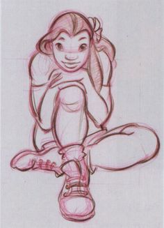 Nani concept sketch from Lilo & Stitch. - to practice fluidity in bodies