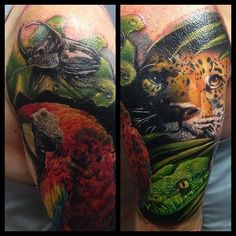 Tattoo by Mark Stewart of Four Aces Tattoo in South Australia. Jungle theme half sleeve / coverup tattoo. Thanks for looking :) Instagram: @markstew_art