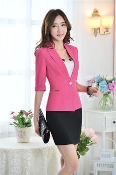 Cheap Novedad rosa Slim negocios mujeres Blazers chaquetas 2015 primavera verano uniforme para mujer del diseño Blazer Feminino Tops Blaser, Compro Calidad Blazers directamente de los surtidores de China:         Nuevos uniformes Estilo trabajo Blazer                  Moda  las mujeres chaqueta de abrigo