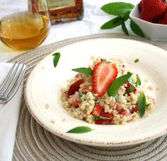 Minted Strawberry Quinoa Salad in an Amaretto Dressing @Kelly @ Inspired Edibles