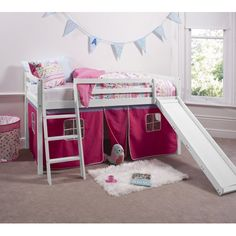 Pretty Pink Cabin Bed with Slide and Tent in Pretty Pink Design