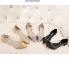 Fashion women shoes 2014 pointed toe flats black gray gold