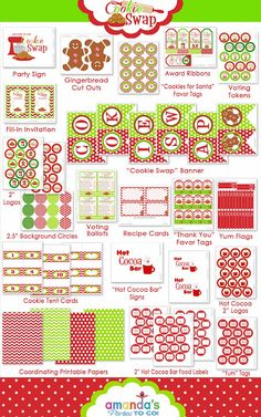 HUGE free printable set for a cookie swap - this is absolutely adorable!