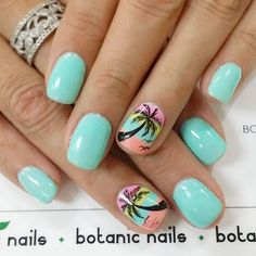 50 cool tropical nails designs for summer nails tropical nai Tropical Nail Designs, Beach Nail Designs, Nail Art Designs, Nails Design, Henna Designs, Palm Tree Nail Art, Hawaii Nails, Cruise Nails, Botanic Nails