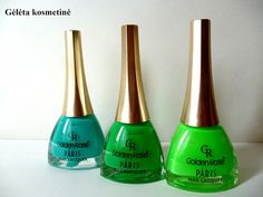 "Gėlėta kosmetinė: GOLDEN ROSE ""Paris"" green as nature nail polishes: No.86, 207, 222"