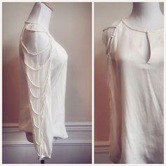 Elie Tahari Silk Rope Sleeve Sheer Blouse Currently at the cleaners, will be up for sale soon! An INCREDIBLE piece to add to your wardrobe...look at that detailing on the sleeves! Elie Tahari Tops Blouses