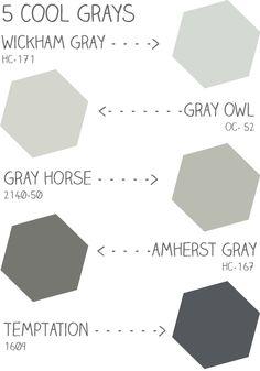 5 Cool Benjamin Moore Grays - Wickham Gray, Gray Owl, Gray Horse, Amherst Gray, Temptation