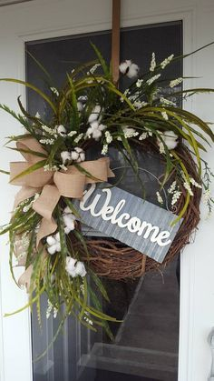 Farmhouse wreath,farmhouse welcome wreath,farmhouse white wreath,galvanized decor,greenery door wrea White Wreath, Diy Wreath, Wreath Ideas, Monogram Wreath, Burlap Wreath, Galvanized Decor, Cotton Wreath, Greenery Wreath, Rustic Wreaths
