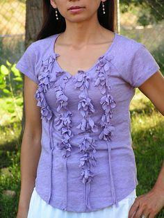 Tea Rose Home: Four Shirts Four Ways ~Lavender~Flower shirt tutorial Shirt Refashion, T Shirt Diy, Clothes Refashion, Refashioned Tshirt, Diy Clothing, Sewing Clothes, T Shirt Remake, Recycle Old Clothes, Shirt Tutorial