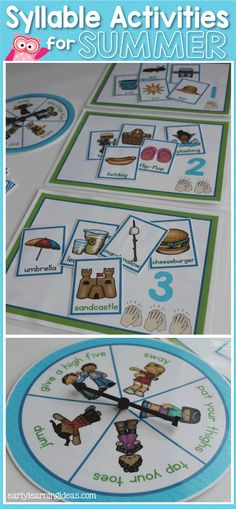 Syllable counting, and sorting with summer themed words.  This activity includes an action spinner so that kids can perform an action as they emphasize syllables in the words.
