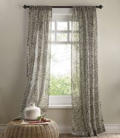 Marley Semi-Sheer Panel- An off-white paisley pattern swirls across this breezy panel.   www.countrydoor.com