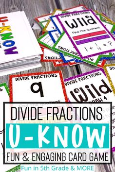 This fun math game works on dividing fractions for 5th graders. Includes cards for dividing with fractions by whole numbers and whole numbers by fractions in word problems. This hands on math activity is great for centers, stations, early finishers and/or small group. Students will be engaged in this game and is great for review, practice and test prep. Fraction Games, Fraction Activities, Teaching Activities, Teaching Resources, Free Math Games, Math Card Games, Dividing Fractions, Teaching Fractions, Love Math