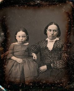 Flora and her Mother, 1/6th-Plate Daguerreotype with Mourning Inscription, Circa 1850