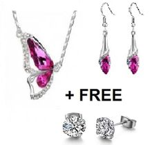 crystal necklace, crystal earrings, necklace&earring jewllery set, pink crystal,