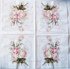 Gorgeous print of roses with French script background, napkins are printed in Germany on 3-ply paper. These are perfect for paper arts and crafts of many kinds,including collage and decoupage on glass, wood, candle, scrap booking , mixed media, and DIY projects. An excellent complement for the dining table and special events.  Each napkin measures 13 x 13 (33 x 33 cm), a standard luncheon size. You will receive 4 napkins with this order.  This napkin design is available in two other sizes…