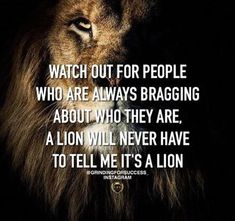 WATCH OUT FOR PEOPLE WHO ARE ALWAYS BRAGGING ABOUT WHO THEY ARE, A LION WILL NEVER HAVE TO TELL ME IT'S A LION.