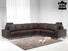 Living room leather sectional