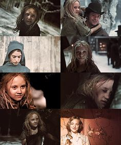 Cosette collage. I love how they put a pic of Fantine in there since she's Cosette's mother! <3
