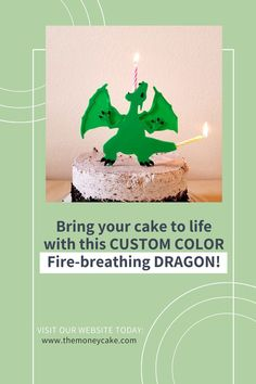 """Bring your cake to life with this CUSTOM COLOR Fire-breathing Dragon! Your homemade or store-bought cake will be transformed into the centerpiece for your Medieval, Fairy-tale, Train Your Dragon, or Dinosaur theme party. Our Dragon has a hole in his mouth and in his tail where a standard size (3/16"""" diameter) birthday candle can fit. Light the candles and make a special wish! Combine something you love with the magic of making birthday wishes. Visit our website today. Happy Birthday Cakes, Birthday Wishes, Birthday Parties, Tooth And Claw, Cake Kit, Fire Breathing Dragon, Money Cake, Party Themes, Party Ideas"""