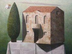 Matthias Brandes, Villa, 2010, olio e tempera su tela, 60 x 80 cm #contemporary #art #painting